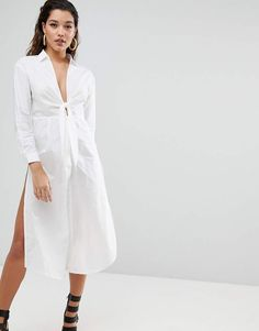 2b54ea1c494 Shop Parallel Lines Maxi Shirt With Tie Front at ASOS.