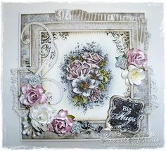 by Karita Vainio using Stempelglede Vintage Garden - I'm a fan : ) Beautiful Handmade Cards, Creative Cards, Stamping, Floral Wreath, Card Making, Shabby, Girly, Fan, Garden