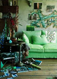 .green couch