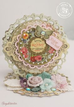 Enchanting card by Steph Devlin for Prima Marketing. Fairy Belle Chipboard by Jodie Lee for Prima, with other prima embellishments.