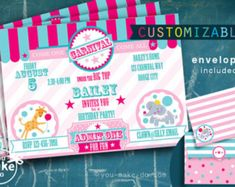 INSTANT pink carnival invitation pink carnival party by youmakedo Circus Party Invitations, Carnival Party Invitations, Invitation Kits, Carnival Birthday Parties, First Birthday Invitations, Pink Invitations, Baby Shower Invitations, Invites, Circus Party Decorations