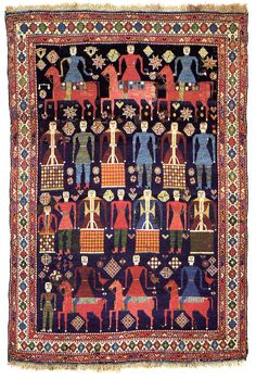 Eastern Caucasus    Pictorial Rug,  2nd half of the 19th century SIZE: 69 1/4 x 46 1/4 in. (175.9 x 117.5 cm.) New England Rug Society