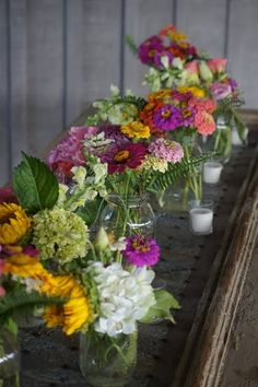 Garden flowers and mason jars