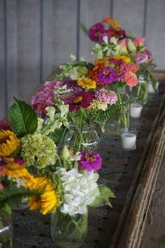 Garden flowers and mason jars