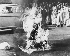 In 1963 a Vietnamese Mahayana Buddhist monk set himself on fire in protest of the persecution of Buddhists by the government of South Vietnam. Malcolm Browne was there to photograph it, and received a Pulitzer Prize for it. The body of the monk was re-cremated, however his heart remained intact. Buddhists saw this as a symbol of compassion, and saw in him a bodhisattva (enlightenment-being), which made an even bigger impact on the public.