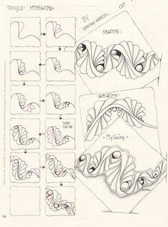 Zentangle pattern My Swing by Simone Menzel Zentangle Drawings, Doodles Zentangles, Doodle Drawings, Tangle Doodle, Zen Doodle, Doodle Art, Zantangle Art, Zen Art, Doodle Patterns