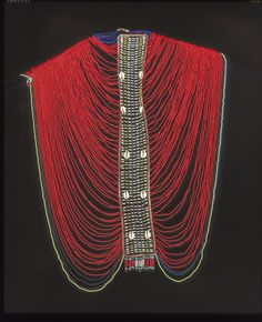 Africa | Woman's shoulder garment. Dinka people. Mid 20th century. Glass beads, cowrie shells and metal.