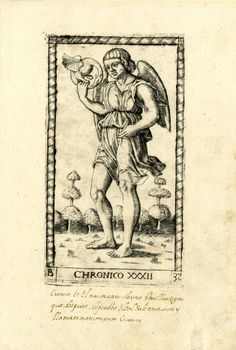 32 WL male figure, winged, standing in a landscape, turned slightly to l; holding a dragon biting its tail in his r hand; after the so-called Tarocchi Cards of Mantegna.  Engraving