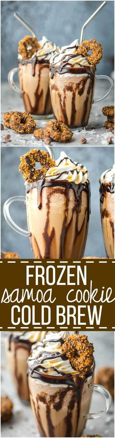 This Frozen Coconut Caramel Frappe recipe is the perfect morning treat to start your day! This easy frozen coffee drink is made with caramel cold brew concentrate & lots of other delicious ingredients! Weight Watcher Desserts, Chocolate Shake, Coconut Chocolate, Chocolate Cream, Caramel Frappe Recipe, Cold Brew Kaffee, Frozen Coffee Drinks, Mini Desserts, Cold Brew Coffee Recipe