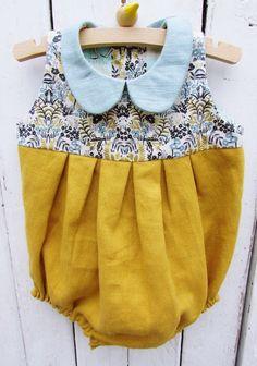 Handmade Vintage Style Linen Romper   HandmadeByHeidiM on Etsy