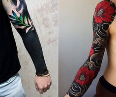 Solid Black Tattoo: 100 inspirations for bold black tattoos - solid-black tattoo-ideas-for-poor-color accent with-blumen_schwarze-tattoos-with- - Black Sleeve Tattoo, Geometric Sleeve Tattoo, Black Tattoo Cover Up, Solid Black Tattoo, Best Sleeve Tattoos, Cover Up Tattoos, Black Tattoos, Tribal Tattoos, Celtic Tattoos