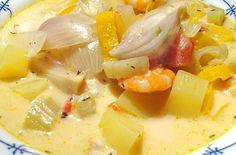 Bulljabääs: Fischsuppe Sylter Art | Rezept | Rezepte mit Bildern für die anspruchsvolle Hobbyküche Food Inspiration, Bouillabaisse, Cantaloupe, Soup Recipes, Potato Salad, Macaroni And Cheese, Catering, Vegan, Fruit