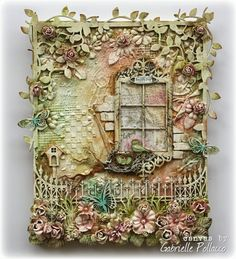 Mixed Media Canvas with VIDEO tutorial, made by Gabrielle Pollacco using Dusty Attic Chipboard http://gabriellepollacco.blogspot.ca/2014/05/mixed-media-video-tutorial-dusty-attic.html