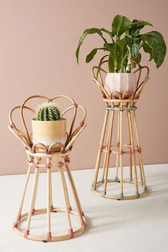 Cosy Home Interior Rattan Home Decor: Donna Plant Stand by Anthropologie Cane Furniture, Bamboo Furniture, Outdoor Furniture, Natural Furniture, Furniture Dolly, Furniture Design, Home Design, Deco Spa, Diy Plant Stand