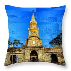 Throw Pillow - The Gate And Clock Tower In Cartagena Colombia