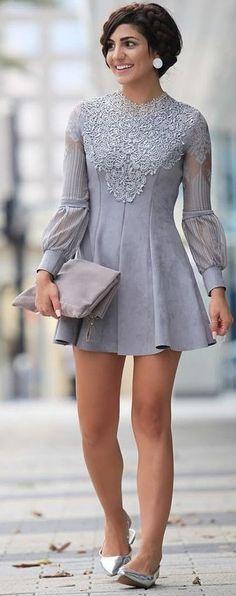 #summer #chic #feminine #style | Embellished Little Grey Dress