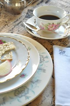 Make a beautifully imperfect table setting by mix and matching vintage china