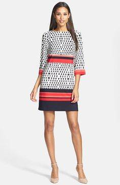 Eliza J Print Stretch Jersey Sheath Dress | Nordstrom