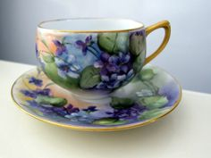 Beautiful Hand Painted Violets TEA Coffee CUP AND Saucer Signed BY Artist | eBay