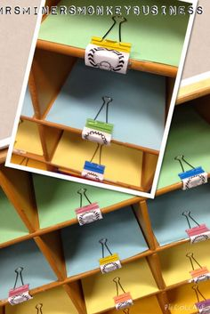 Clips instead of mailbox labels. Miner's Kindergarten Monkey Business: Picture Walk Through My Classroom 2014 Classroom Layout, Classroom Labels, Classroom Projects, New Classroom, Primary Classroom, Classroom Design, Kindergarten Classroom, Classroom Themes, Classroom Cubbies