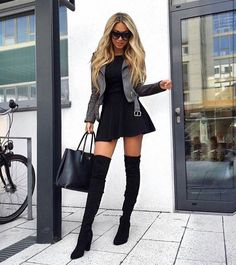 DRESS + THIGH HIGH BOOTS OUTFIT