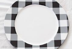 DIY Buffalo Check Charger Plates