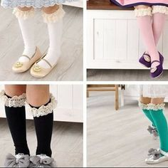 Lace trimmed knee socks