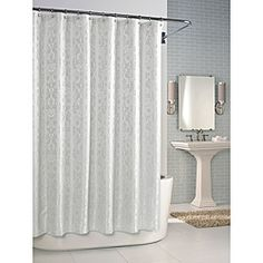 @Overstock - A brilliant jacquard weave highlights this classic white shower curtain. This curtain is easy-to-clean and will lend elegance to any bathroom.http://www.overstock.com/Bedding-Bath/Versaille-White-Shower-Curtain/6610448/product.html?CID=214117 $37.99
