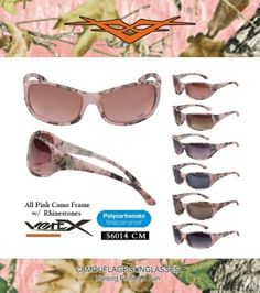 'Pink Camouflage Rhinestone Vertx Sunglasses  ' is going up for auction at  6am Mon, Jun 2 with a starting bid of $1.
