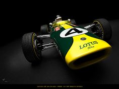 Jim Clark in a Lotus 49.  British Racing Green and Lotus yellow - pre sponsorship