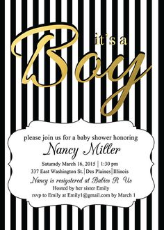 Black and white baby shower invitations black and gold baby shower boy baby shower invitation black white stripes with gold foil or glitter elegant baby shower invitation filmwisefo