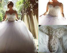 Luxury Wedding Dress,Wedding Dresses,A-Line Wedding Dress,Illusion Neckline Wedding