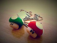 #Clay #Jewelry Super Mario Bros Theme. #Mushroom Clay Necklace