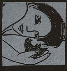 Artist: Anita Klein  Title: Bird on the Beach  Medium: Linocut  Image size: small