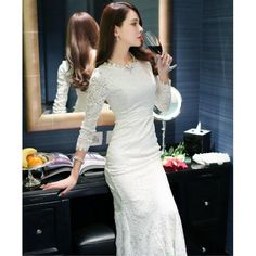 88a86a83dbc9 Sweet Backless Round Collar Lace Women Mermaid Dress White Black