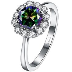BOHG Jewelry Womens Platinum Plated Round Cut Mystic Rainbow Topaz Solitaire Flower Wedding Ring Silver * Final call for this special discount  : Women's Fashion for FREE