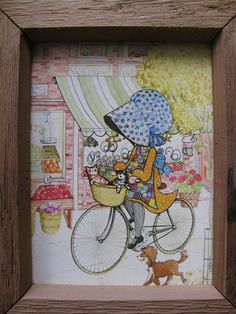 Oh, my gosh, I can't stand it! Holly Hobby on a BICYCLE, with kittens and a puppy!