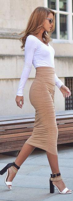 Pretty Little Thing White Bodysuit | Camel Slinky Midi Skirt | Colour Block Heels