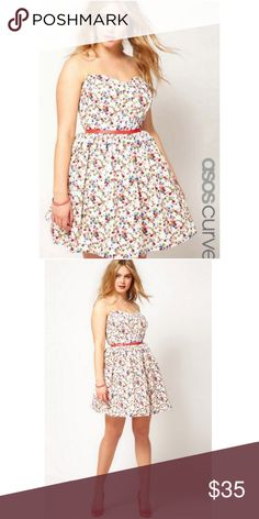 3caab68ad7aa ASOS Curve Strapless Dress In Ditsy Print Sz 22