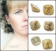 Gold and silver domed square backed studs, beaded in 24ct gold plated glass beads, sterling silver posts. Classic gold and silver colour combination. Stunning and stylish statement earrings for day and evening wear. Size : 1.5cm x 1.5cm x 1.5cm #DaniCromptonDesigns www.dani-c.co.uk