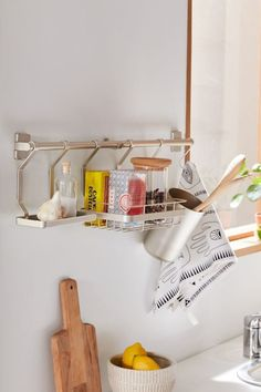 Kitchen Wall Organizer Make use of your wall space with this mounted kitchen organizer, featuring a hanging bar with hooks, platforms and cups for keeping your utensils, spices, teas and more neat + tidy. Boho Kitchen, New Kitchen, Kitchen Design, Studio Apartments, Kitchen Buffet, Kitchen Decor, Decorating Kitchen, Kitchen Cabinets, Kitchen Shelves