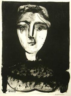 Title: Tete de Jeune Femme, 24 June 1947 Artist: Pablo Picasso (1881-1973, Spanish) Year: 1947 Materials/Techniques: Lithograph using wash on zinc #fineart #art