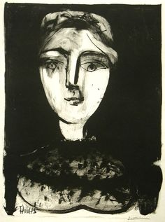 Title: Tete de Jeune Femme, 24 June 1947  Artist: Pablo Picasso (1881-1973, Spanish)  Year: 1947    Materials/Techniques: Lithograph using wash on zinc #fineart #art