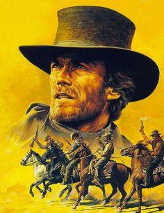 Clint Eastwood, Eastwood Movies, Westerns, Films Western, Cowboy Artwork, Portrait Au Crayon, West Art, Movie Poster Art, Tarzan