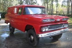 1961 Chevrolet Apache panel truck I'll do mine in Blue, with chrome wheels and not so high.