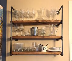 Industrial Kitchen or Bathroom Floating Shelf Wall Unit, Rustic Open Shelves, Farmhouse Kitchen Storage, Cookware Plate Display