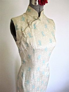 XSS 50s 60s Asian Cheongsam Dress White Brocade by LikewiseVintage