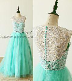 Turquoise Aqua Blue Lace Tulle Bridesmaid Dress Prom by CredoAmor