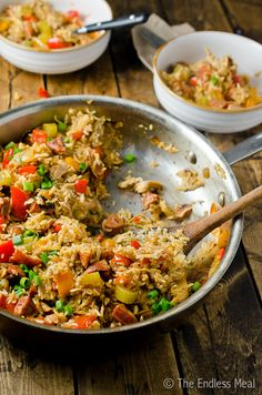 This Rotisserie Chicken and Chorizo Jambalaya is absolutely delicious. It is salty, rich and full of flavour! You are going to love it! Recipes Using Rotisserie Chicken, Chicken Recipes, Turkey Recipes, Chicken Chorizo, Chorizo Sausage, Jambalaya Recipe, Chicken Jambalaya, Celery Rib