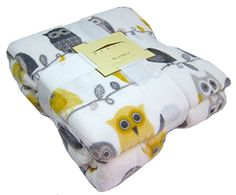 "All Seasons Micro Fleece Owls Plush Throw Blanket Oversized 60 x 70"" Blue, Brown, Yellow, Grey, Orange (Grey/Yellow) Domain http://www.amazon.com/dp/B00T9WAI20/ref=cm_sw_r_pi_dp_vSO2ub0QT3K2S"